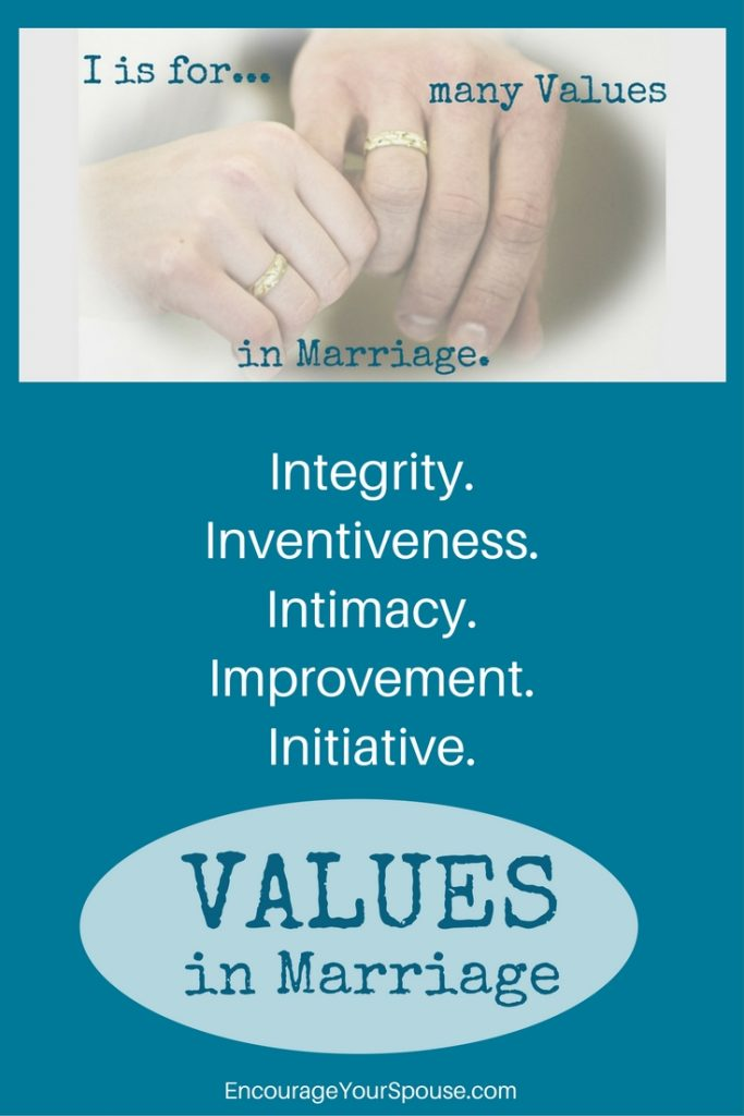 Values in Marriage Integrity- Inventiveness -Intimacy- Improvement -Initiative- Encourage Your Spouse Values challenge A to Z