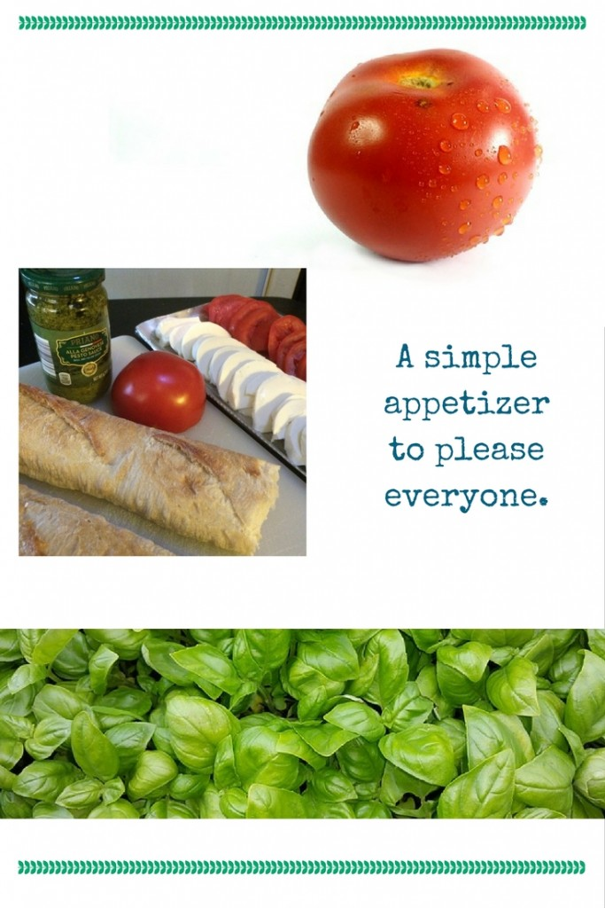 A simple appetizer to please everyone - slice some tomatoes and fresh mozarella - add pesto, olive oil and balsamic vinegar - pair it all with a great baguette - so easy and simple